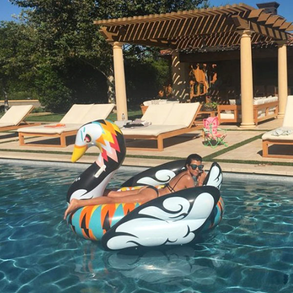 Giant Colorful Abstract Print Swan Float 2