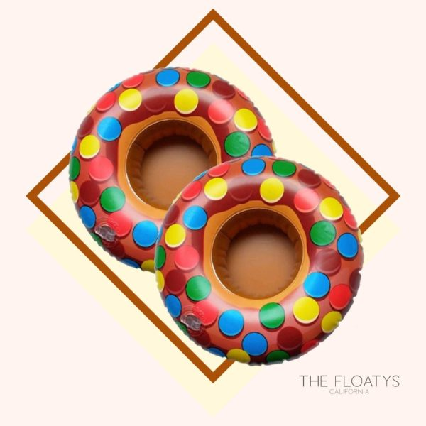 Inflatable Candy Colored Donut Drink Holders (2-Pack) 1