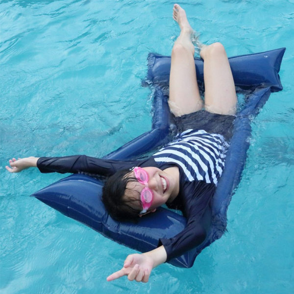 Dark Blue Mesh Hammock Float Lounger 2